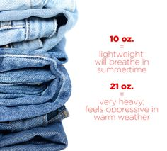 Pay attention to the weight of the denim you're buying.