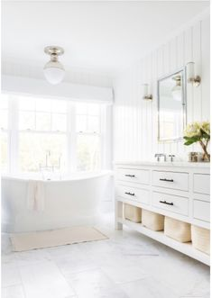 Chango And Co Designed New Build Long Island Home Tour all-white bathroom + tub GOALS Upstairs Bathrooms, Chic Bathrooms, Dream Bathrooms, Master Bathrooms, Small Bathrooms, All White Bathroom, Modern Bathroom, Brown Bathroom, Gold Bathroom