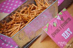 Hay.. pretzels. such a cute idea