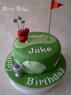 Golf Cake, by Berry Bakes Golf Birthday Cakes, Birthday Parties, Bake My Cake, Gifts For Golfers, Golf Theme, Themed Cupcakes, Grooms, Cake Cookies, Cake Pops