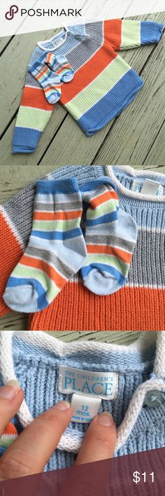 Children's Place sweater and matching socks! Children's Place matching sweater and socks! Striped in light blue, grey, orange, light green, and cornflower. These colors work fall, winter, and spring! Excellent condition. Button closure. Pair with jeans or khakis and look really polished! Children's Place Shirts & Tops Sweaters