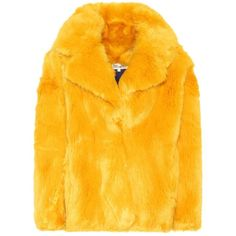 Diane von Furstenberg Faux-Fur Jacket (1,355 PEN) ❤ liked on Polyvore featuring outerwear, jackets, coats, tops, yellow, diane von furstenberg, diane von furstenberg jacket, fake fur jacket, faux fur jacket and yellow jacket