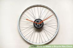 How to Make a Bicycle Rim Clock. Here's a cool way to reuse those bicycle junk you have in your garage. If you're a bike fanatic here's a great way to give your wall a personal touch. Make your own bike rim wall clock. Bicycle Clock, Bicycle Rims, Old Bicycle, Diy Clock, Bike Wheel, Crafty, Cool Stuff, How To Make, Marcel
