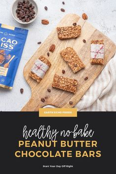 These no-bake peanut butter cacao bars are super simple to make, healthy, delicious, and can help curb your cravings thanks to the addition of Cacao Bliss. What could be better? Check out the recipe and see for yourself! Peanut Butter Chocolate Bars, Creamy Peanut Butter, Healthy Chocolate, How To Make Chocolate, Smart Snacks, Healthy Snacks, Healthy Recipes, Super Simple, Superfoods