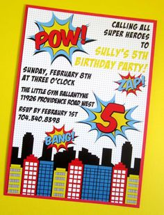 Cool invites at a superhero birthday party! See more party ideas at CatchMyParty.com!