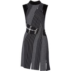 3.1 Phillip Lim Velvet-trimmed wool-jacquard dress (12,780 MXN) ❤ liked on Polyvore featuring dresses, navy, slip on dress, navy print dress, woven dress, panel dresses and 3.1 phillip lim