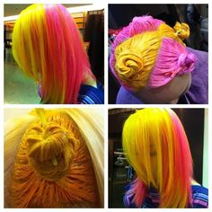 Not the colours but the pattern and style after hair color techniques, bright hair, Hair Color Techniques, Yellow Hair, Pink Hair, Pink Yellow, Purple, Natural Hair Styles, Long Hair Styles, Bright Hair, Colorful Hair