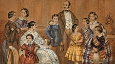 A print showing a seated Queen Victoria and a standing Prince Albert surrounded by their nine children Queen Victoria Children, Queen Victoria Family, Queen Victoria Prince Albert, Victoria Reign, Victoria And Albert, Queen Victoria Wedding Dress, Victorian London, Victorian Era, Queen Victoria's Daughters