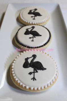 STORK Silhouette Baby Shower Decorated Sugar Cookie favors 1 Dozen (12)