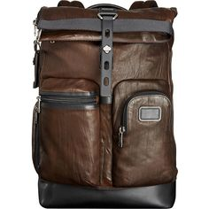 Tumi Alpha Bravo Luke Roll-Top Leather Backpack ($645) ❤ liked on Polyvore featuring men's fashion, men's bags, men's backpacks, backpacks, brown, laptop backpacks, mens leather backpack and mens laptop backpack