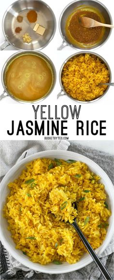 Jasmine Rice This savory Yellow Jasmine Rice combines warm and fragrant Indian spices and chicken broth to make the most flavorful rice you've ever tasted! savory Yellow Jasmine Rice combines warm and fragrant Indian spices and chicken bro Indian Food Recipes, Asian Recipes, Vegetarian Recipes, Cooking Recipes, Healthy Recipes, Delicious Recipes, Cooking Tips, Vegetarian Rice Dishes, Indian Chicken Recipes