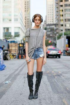 Street Style #Boots #OversizedT #DenimShorts