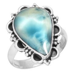 Natural Larimar - Dominican Republic Gemstone Fashion Jewelry Solid 925 Sterling Silver Ring Size M >>> Check this awesome product by going to the link at the image. (This is an affiliate link) #Rings