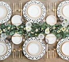 borrowed BLU// White Lace Charger, Granite Russel Wright Dinner Plate, White+Gold Salad Plate, White+Gold Bread Plate, Antique Modern Gold Flatware, Smokey Grey Goblets, Milk Glass Goblets, Gold Rimmed Goblet, Crystal Cut Salt Cellars
