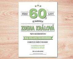 Pozvánka na oslavu 60 - zelená barva