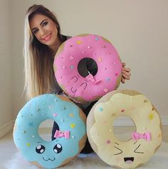 Donuts Kawaii Donuts Pillows at Candy Theme Birthday Party, Donut Birthday Parties, Donut Party, Candy Party, Diy Arts And Crafts, Felt Crafts, Crafts For Kids, Diy Crafts, Baby Sewing Projects