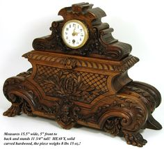 """Spectacular Antique French Carved Wood 15.5"""" Mantel Clock, Figural"""