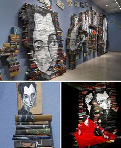 The melancholy characters of artist Mike Stilkey are even more captivating when they stand seven feet tall, painted onto an installation of 5,000 books. Stilkey's paintings on individual book pages gradually morphed into painting down the spines of stacked books.