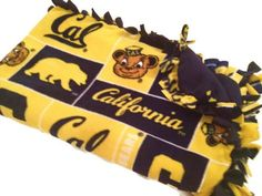 University of California Blanket - CAL Golden Bears No Sew Tie Quilt - Bedding, Minky - UC Berkeley - PAC 12 Football