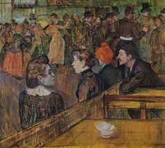 transistoradio:Henri de Toulouse-Lautrec (1864-1901), Ball at the Moulin de la Galette (1889), oil on canvas, 101.3 x 88.9 cm. Collection of Art Institute of Chicago, Chicago, Illinois, USA. Via Wikimedia Commons.