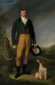 A Gentleman with his dog  Date ca. 1815. This would be an example of a non-blue tailcoat with brass buttons.