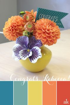 a dahlia-inspired color palette // blue, yellow, orange // congratulations on your marriage, rebecca!