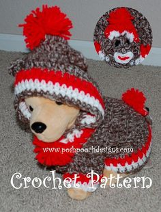 Instant Download Crochet Pattern- Sock Monkey Dog Hoodie - Small Dog Hoody