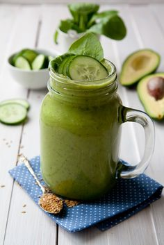 Cucumber and avocado smoothie is full of green goodness and made from cucum Cucumber Smoothie, Pear Smoothie, Juice Smoothie, Smoothies, Nut Milk Recipe, Wheatgrass Powder, Protein Smoothie Recipes, Healthy Cooking, Healthy Eats