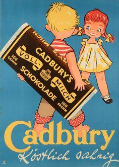 "Retro Styles Original Vintage Chocolate German Ad Poster ""Cadbury's schokolade"" by Sim - Vintage Food Posters, Vintage Advertising Posters, Old Advertisements, Advertising Signs, Retro Vintage, Vintage Candy, Retro Ads, Vintage Images, French Vintage"