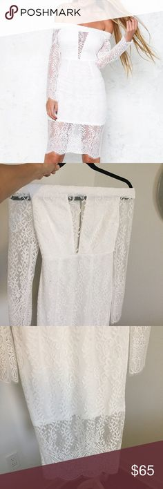 Hello Molly White Lace Midi Dress NWT gorgeous Lace Midi dress with exposed zipper! Perfect for a bridal shower or bachelorette party!! Size small (Aus 8) Hello Molly Dresses Midi