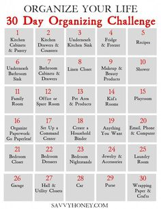 30 Day Organizing Challenge To Declutter Your House & Life - Free Organization P. - 30 Day Organizing Challenge To Declutter Your House & Life – Free Organization Printable – Savv - Deep Cleaning Tips, House Cleaning Tips, Cleaning Hacks, Cleaning Challenge, Diy Hacks, Spring Cleaning Checklist, Monthly Cleaning Schedule, Clean House Schedule, Weekly Cleaning