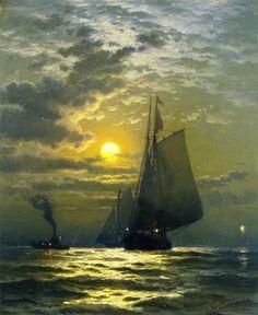 Edward Moran (1829-1901), Sailing by Moonlight, New York Harbor