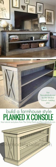 Check out how to build a DIY farmhouse sideboard TV console DIY Home Decor Ideas… - DIY Furniture Plans Diy Furniture Tv Stand, Furniture Projects, Furniture Plans, Home Projects, Pallet Furniture, Modern Furniture, Diy Home Furniture, Weekend Projects, Old Tv Stands