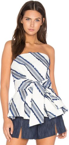 MILLY Kylie Top / strapless striped top