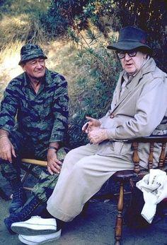 John Wayne and John Ford on the set of Green Berets