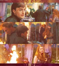 In the midst of chaos Ron, Harry, and Hermione still look for each other. Gina Harry Potter, Always Harry Potter, Harry And Ginny, Ron And Hermione, Harry Potter Memes, Gina Weasley, Desenhos Harry Potter, Welcome To Hogwarts, Bonnie Wright