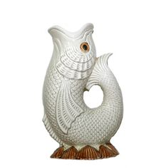 Vintage Fish Vase Fitz and Floyd Fish Figurine Ceramic Fish Vase Beach... ($69) ❤ liked on Polyvore featuring home, home decor, seashell home decor, fish figurines, fish home decor, ceramic figurines and ceramic home decor