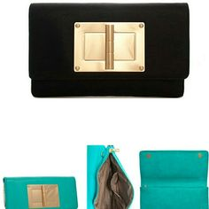 Buckle Me Down Magnetic Flap Faux Leather Clutch H 7in x W 12in x D 2in Bags Clutches & Wristlets