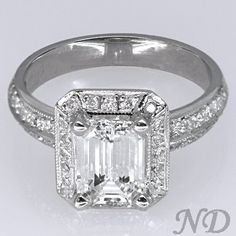 Engagement Rings :: Emerald-cut Engagement Ring, Pave Mounting  Exactly what I want!!