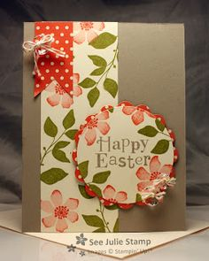 handmade Easter card ... kraft paper with vanilla panels ... olive and orange ... like the greeting on the circle ... circle focal point with flowers off the edges  and matted with red polka dot paper ...  luv the stamping with shading at edges ... Stampin' Up!