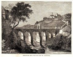 Antique print Alcántara Roman Bridge 1840 Alcantara river Spain grabado