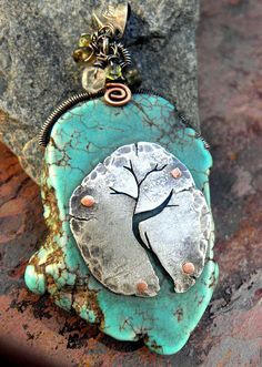Contemporary Pendant with drilled blue dyed Magnesite and recycled silver by  ThePurpleLilyDesigns