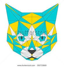 Abstract cat isolated on white background. Abstract Animals, Abstract Art, Geometric Drawing, Pop Art, Collage, Quilts, Drawings, Cats, Low Poly
