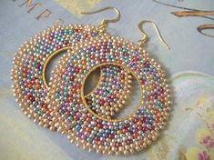 Items similar to Seed Bead Hoop Earrings Sparkles Big Bold Multicolored Beadwork Earrings - BIG BLING on Etsy Seed Bead Jewelry, Seed Bead Earrings, Beaded Earrings, Beaded Jewelry, Crochet Earrings, Seed Beads, Big Earrings, Hoop Earrings, Brick Stitch Earrings