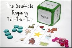The Gruffalo is possibly one of our favorite books. The boys love the story line … The Gruffalo Rhyming Tic-Tac-Toe–Virtual Book Club for Kids Read Gruffalo Activities, School Age Activities, Activities For Kids, Literacy Bags, Preschool Literacy, Kindergarten Class, Preschool Ideas, Rhyming Games, The Gruffalo