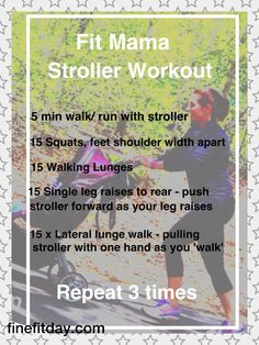 Basic stroller workout to ease back in to exercise. Neat idea, but I think I would feel odd squatting while pushing the stroller.