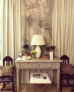 Vignette of New Provence table and pair of chairs