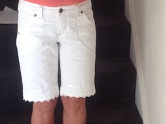 Cut off jeans with lace trim, transformed and ready for sunny weather!