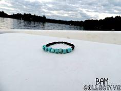 Turquoise Stone & Black Crystal Bracelet by BAM Collective #handmade #bybamcollective BAMcollective.etsy.com