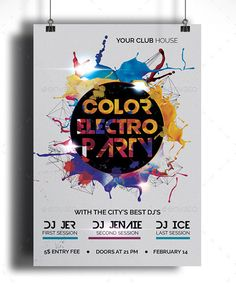 Color Electro Party Future Sound Colorful Electro Flyer Is The Only Way Make A First And Last Impression On Audience This Panfleto Para Festas Festa Panfleto